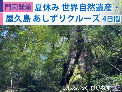 日本船「ぱしふぃっくびいなす」で航く【門司発着】夏休み 世界自然遺産・屋久島 あしずりクルーズ 4日間